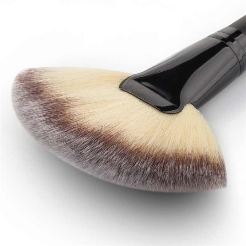Fan şekli toz kapatıcı Mix işaretleyici vurgulama makyaj fırçası tırnak sanat makyaj fırçası