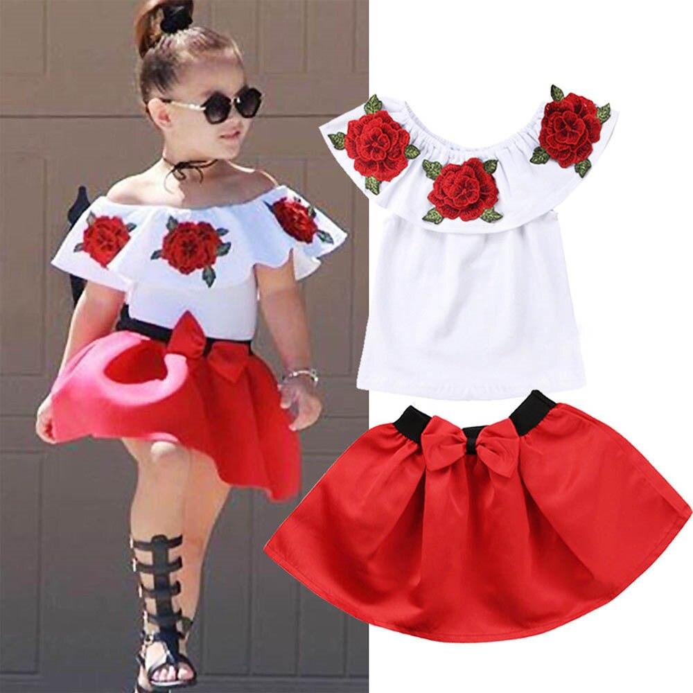 2 Teil/satz Sommer 3d Blume Drucken Baby Kinder Mädchen Kleidung Ärmellose Rüschen Rundhals Pullover T-shirts Denim Loch Baumwolle Hosen