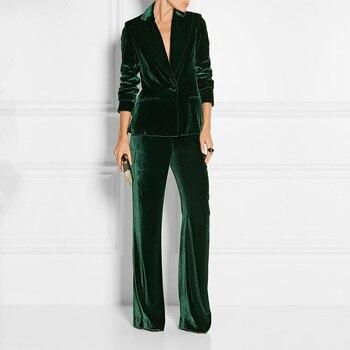 Rhonda Varnado Suits Slim Women Office Business Suits Formal Work Wear 2 Piece Sets Dark Green Velvet Ladies black velvet elegant pant suits costumes for women office business suits formal work wear 2 piece sets office uniform styles