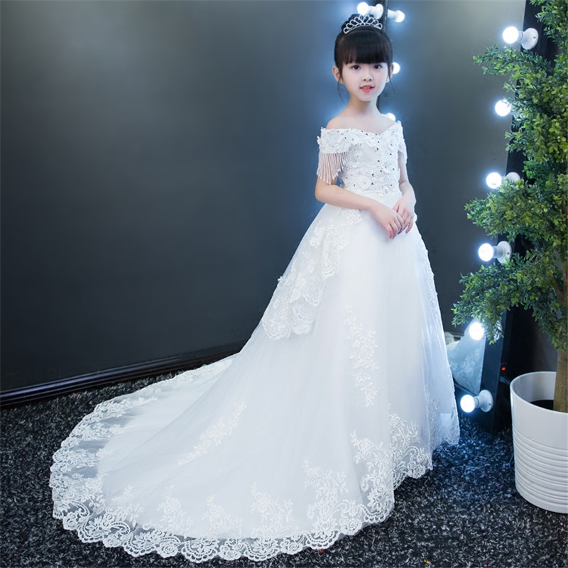 2017 New Elegant Children Girls Embroidery Princess Lace Party Dress Kids White Birthday Wedding Model Show Long Trailing Dress 2017 new high quality girls children white color princess dress kids baby birthday wedding party lace dress with bow knot design