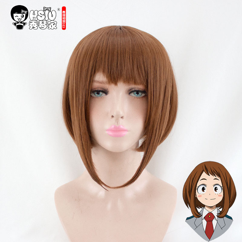 HSIU NEW High quality Uraraka Ochako Cosplay Wig My Hero Academia Costume Play Wig Halloween Costumes Hair Boku no hero academia