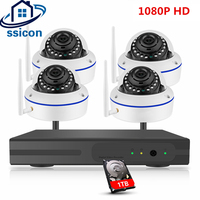SSICON 4CH Home Security Camera CCTV System Wireless IP CCTV Kit 1080P P2P IR Night Vision Plug Play Video Surveillance Wifi Kit