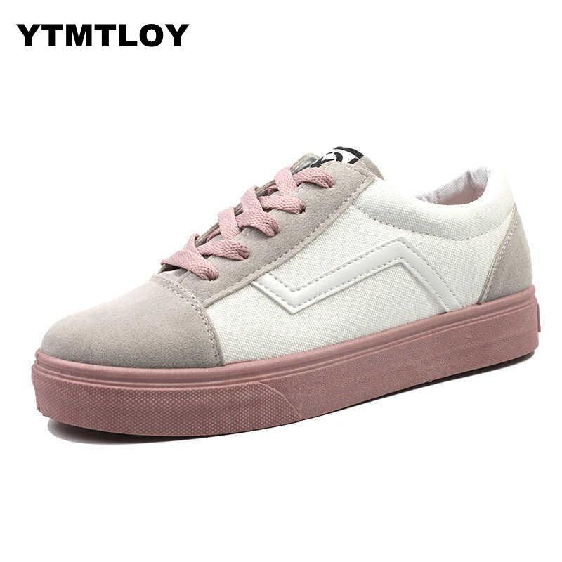Women's Canvas Flat Shoes Fashion Lace Up Women Sneaker Woman Casual Comfortable Flats Tenis White  Sexemara Canvas Shoes