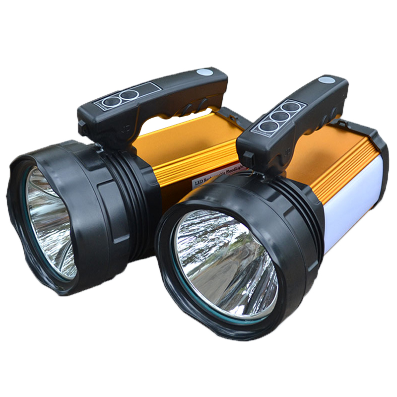 Portable searchlight Led camping outdoor flashlight rechargeable waterproof lamp with charger and 5000ma Built-in battery high power portable searchlight rechargeable waterproof hunting night fishing flashlight built in battery