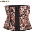 HEXIN Extra Firm Control Waist Cincher Girdle Leopard Zipper Hot Shapers Waist Trainer Corset Slimming Belt With Pocket
