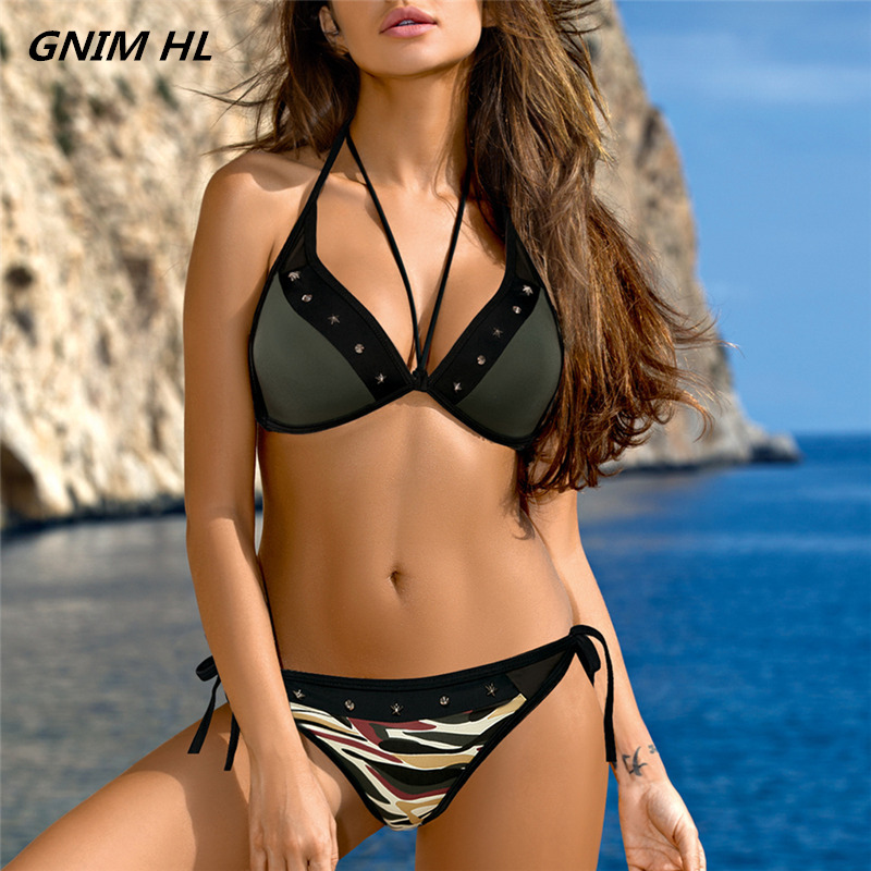 GNIM HL Sexy Bikini Mujer New 2019 Army Swimwear Women Push Brazilian Biquini Bandage Swimsuit Beachwear Bathing Suit Two Pieces
