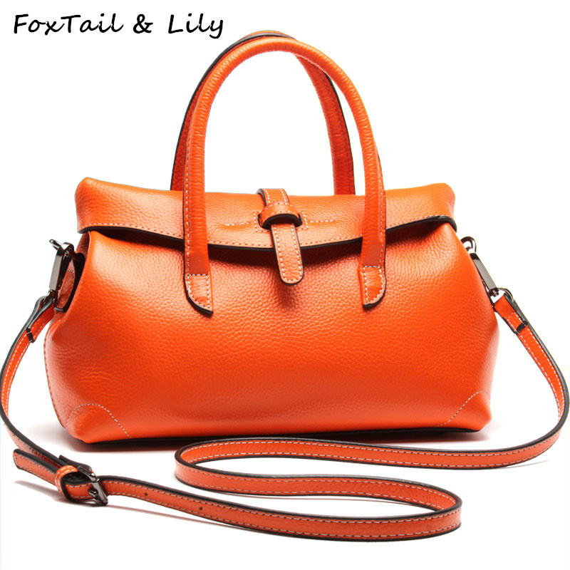FoxTail & Lily Genuine Real Leather Tote Bags Women Soft Cow Leather Handbags Famous Designer Fashion Shoulder Crossbody Bags