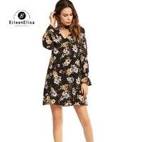 Runway Print Dress 2017 Woman Casual Knee Length Summer Dresses