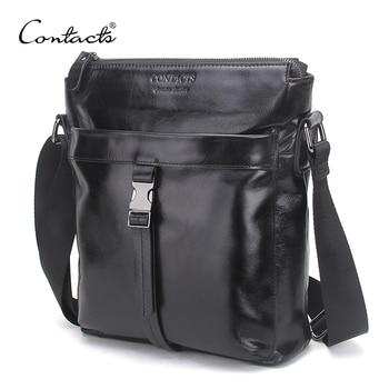 CONTACT'S Famous Brand Oil Wax Leather Men Shoulder Bag Casual Business Mens Messenger Bag Vintage Men's Crossbody Bolsas Male