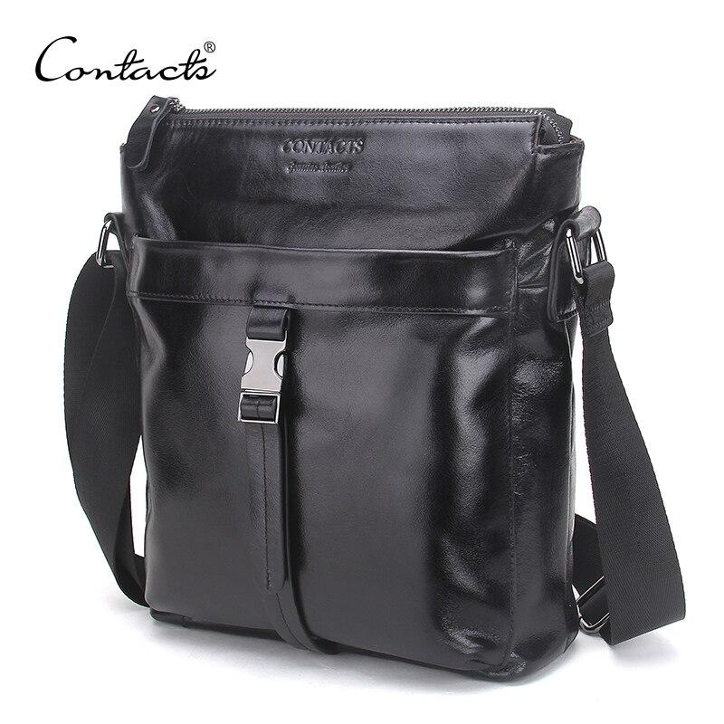 CONTACT'S известный бренд масло воск кожа для мужчин сумка повседневное бизнес s Винтаж Кроссбоди Bolsas мужской