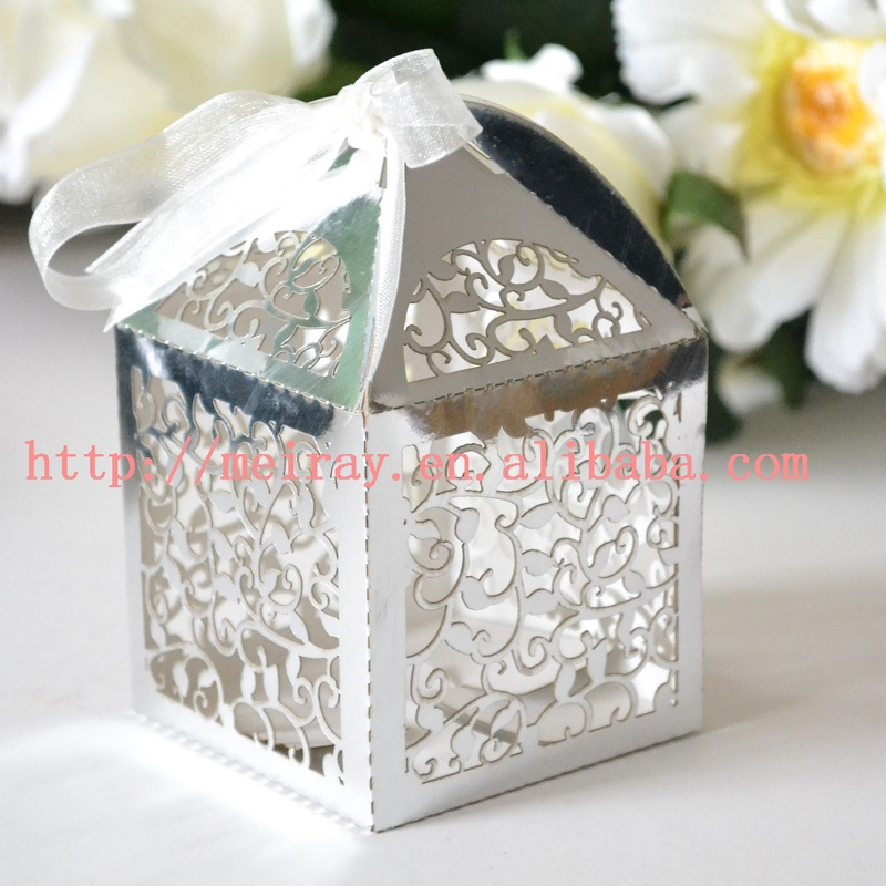 Silver Wedding Decorations Laser Cut Personalized Wedding Gift Box