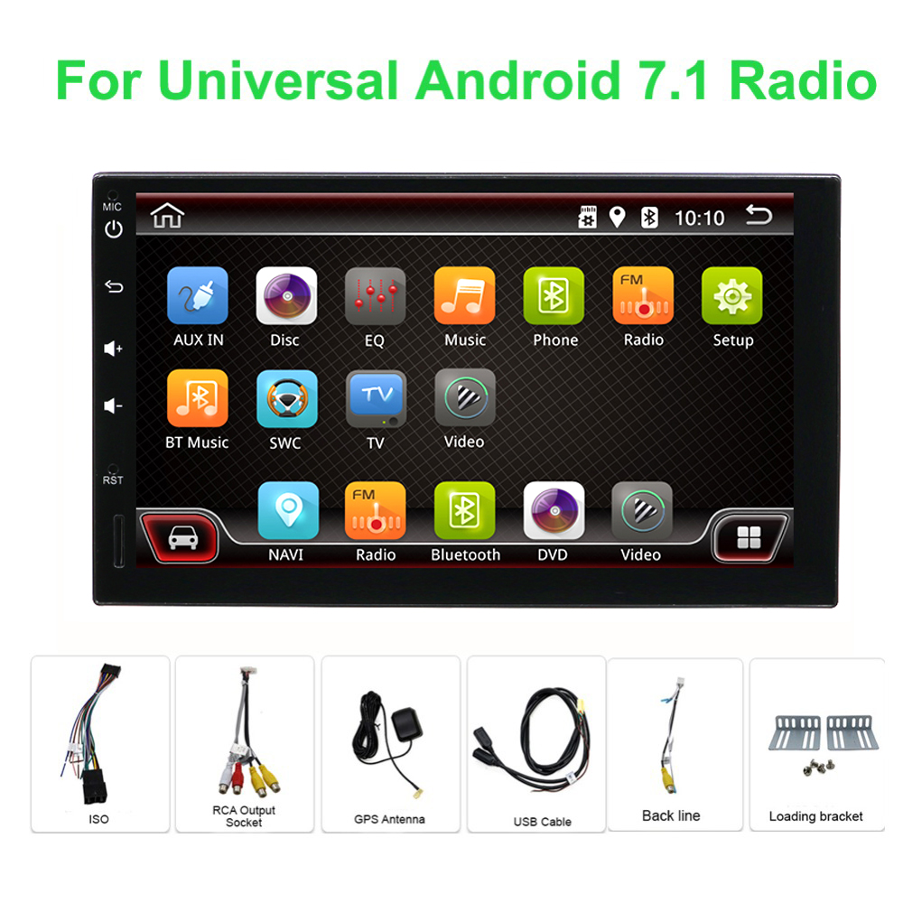 Quad core 2 din android 7.1 Universal Car Multimedia Player Car Radio Dvd Player Stereo 7 Inch Autoradio Gps Navigation Camera цена