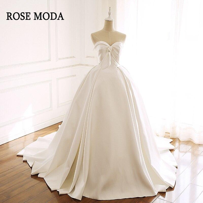 Satin Wedding Dress 2019: Rose Moda Luxury Satin Wedding Dress 2019 Vintage Princess