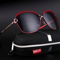 Barcur Luxury Sunglasses Women Brand Designer Female Retro Large Sun Glasses UV400 Oculos De Sol