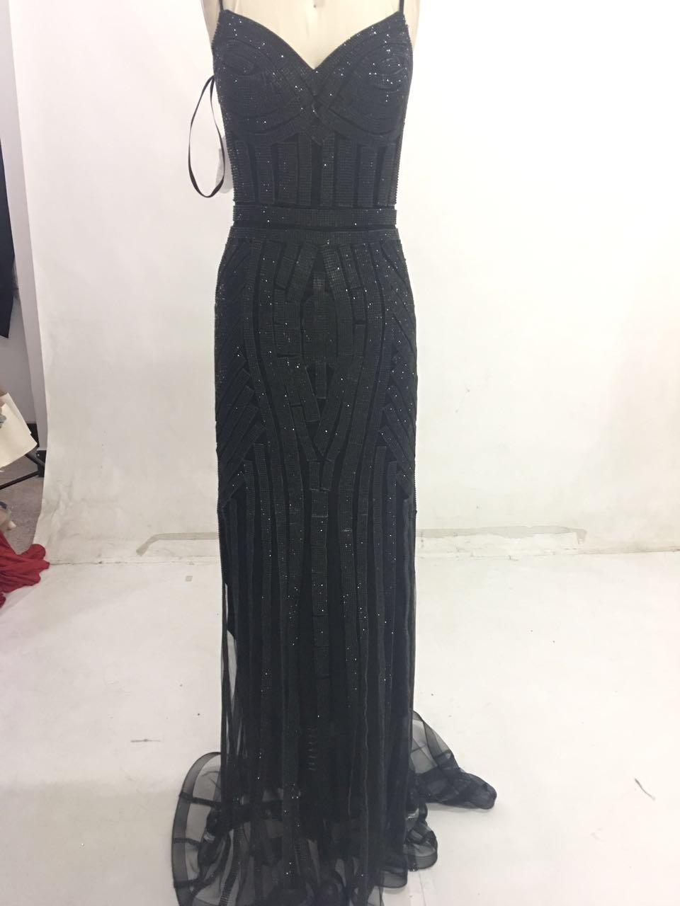 Finove/Вечерние платья цвета шампанского, элегантные сексуальные вечерние платья без рукавов с v-образным вырезом, украшенные кристаллами и бисером, длинные платья для выпускного вечера для женщин - Цвет: Black and Black
