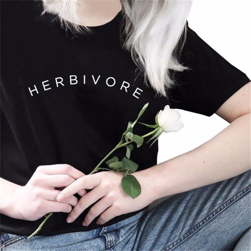 Herbivore T-Shirt Vegetarian Shirt Graphic Tee Black Cotton T Shirt Women Short Sleeve T Shirts Vegan Top Tees Summer Lady Tops 10