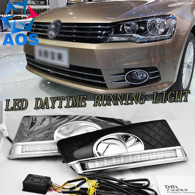 Turn off and dimming style relay LED Car DRL Daytime Running Lights for VW Bora 2013 2014 2015  with fog lamp тушь для ресниц artdeco all in one panoramic mascara