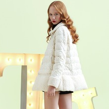 New Winter Coat Women Lace Coral Velvet Parka Fashion Down Jackets Female Solid Color Lapel Feminine Coat Sweet C828