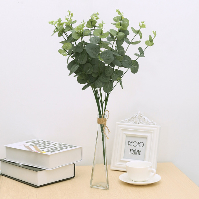 Mayitr Fake Eucalyptus Leaf Plants Cloth Plastic Artificial Plants Decorative Fake Money Plant Tree Home Wedding Party Decor