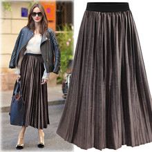 Fashion Women's A-Line Solid Ankle Length High Waist Pleated Skirt One Size