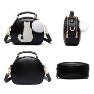 Image 5 - 2020 damskie torebki na ramię Crossbody torba dla kobiet torebka PU skóra pełnia księżyca cukierki kolor słodki kociak z futrzana kulka