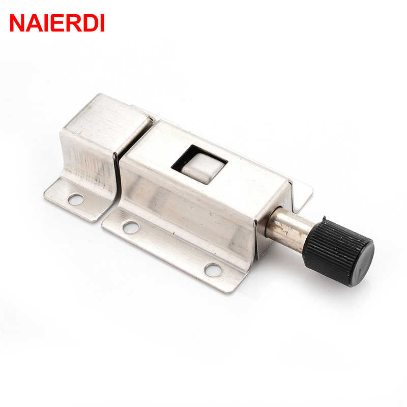 NAIERDI Stainless Steel Door Bolt Spring Bounce Bolts Lock Door Chain Latch For Window Cabinet Toilet Furniture Hardware