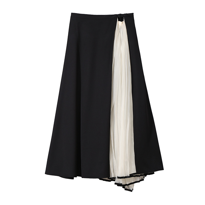 Largo Cintura Negro Blanco Señoras Larga Y Plisada Pleasted Sexy Plisado Skirt Falda 2018 Alta Noche Fiesta Mujeres Club 51UqHH