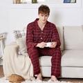 Pijamas de los hombres de Primavera y Otoño Pijamas de Las Señoras Amor Hombres ropa de Dormir Pijama A Cuadros de Algodón Masculino ropa de Dormir Conjuntos de Pijamas de Algodón 3XL