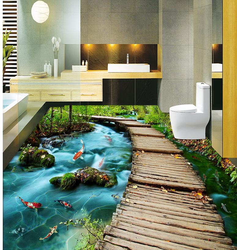 Compare prices on plastic wood flooring online shopping for Bathroom 3d floor