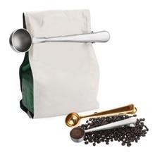 Многофункциональные кухонные принадлежности, совок для кофе с зажимом из нержавеющей стали, чайный мерный стакан, ложка для кофе
