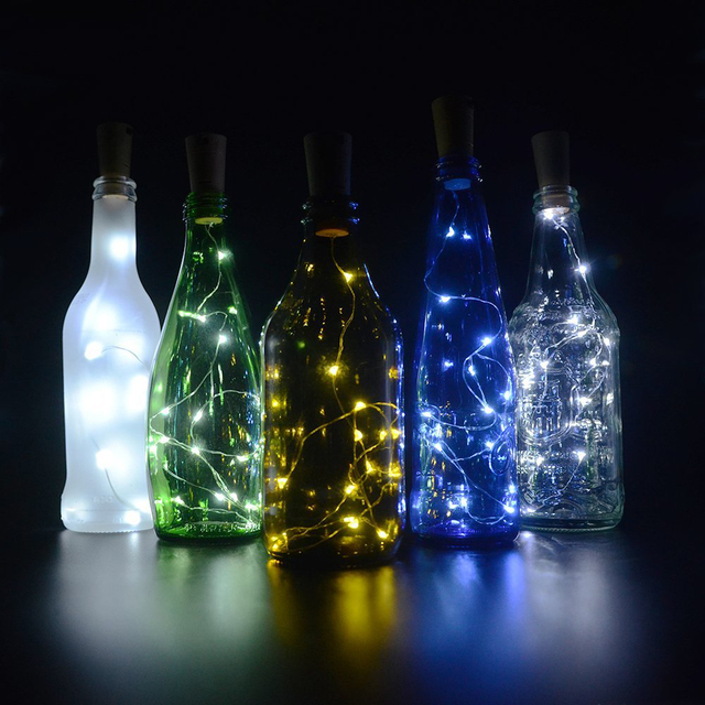 glass bottle lighting diy rustic kitchen battery powered wine bottle lights 75cm cork shaped christmas string waterproof decoration for diy