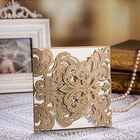 100pcs Gold Laser Cut Flower Wedding Invitations Card Engagement Envelopes Baby Shower Birthday Souvenirs Wedding Party