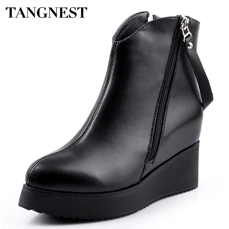 Tangnest 2016 Spring New Women's Ankle Boot PU Leather Increased Height Fashion Boots Pointed Toe Wedges Shoes For Women XWX2668