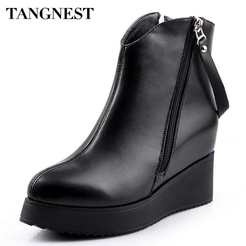 Tangnest 2017 nova primavera das mulheres ankle boot de couro pu aumento da altura botas de moda apontou cunhas toe sapatos para mulheres xwx2668
