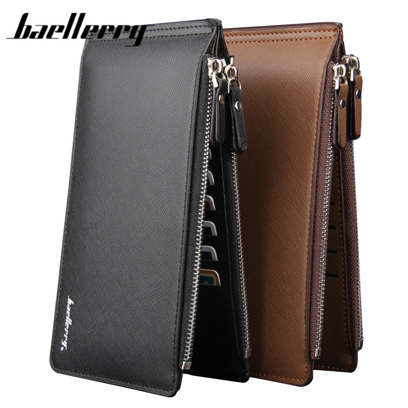 Baellerry New Limited PU Leather Wallet Slim Men Wallets Portefeuille Homme Card Holder Cuzdan Letter wallet Black Long Purse
