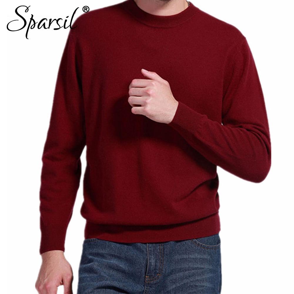 Sparsil, мужские кашемировые свитера, для зимы и осени, круглый вырез, длинный, с рукавами, пуловер, мягкий, теплый, вязанный, плюс размер, S-XXXL, A42