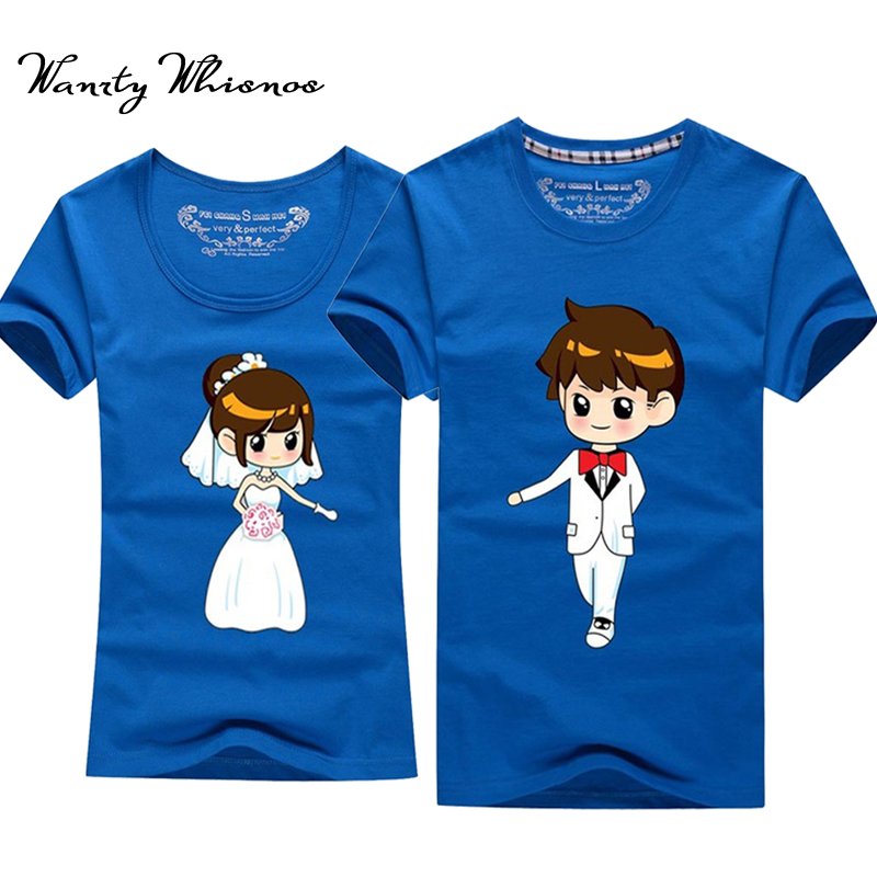 2017 nieuwe stijl paar t-shirt hand in hand voor bruiloft heren en - Dameskleding