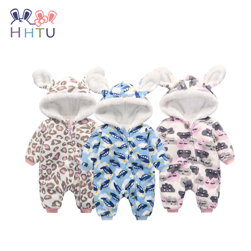 HHTU 2017 Newborn Baby Boys Girls Fleece Clothes Autumn Winter Rompers Infant Jumpsuit Long-Sleeve Thick Clothing Cute
