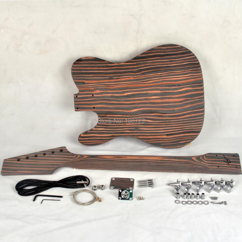 Kit guitare électrique bricolage Zebrawood corps et cou Style TL - 2