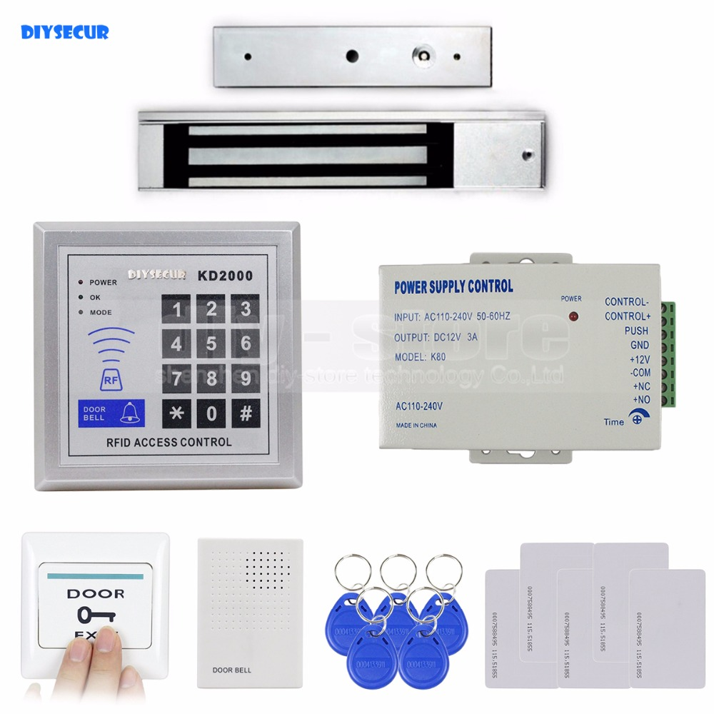 DIYSECUR RFID Keypad With Door Bell Button Access Control Security System Full Kit Set + 280KG Magnetic Lock KD2000 wireless service call bell system popular in restaurant ce passed 433 92mhz full equipment watch pager 1 watch 7 call button