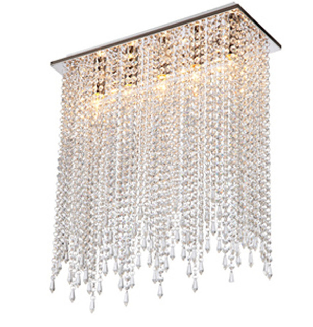 Cafe rectanglar crystal string ceiling lamps holiday light Modern Kitchen led crystal lampe dining room Stair ceiling lights