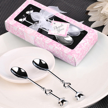 200pcs/lot Love Heart Spoons Coffee Spoon Wedding Favor Guest Gift 2 in 1 box, Free Shipping