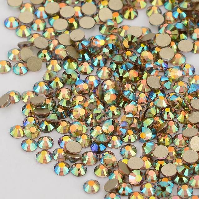Ghost Light Effects Crystal Gold Back FlatBack Glass Rhinestone Non-HotFix Nail Art Crystal Decorations Flat Back Rhinestones 1