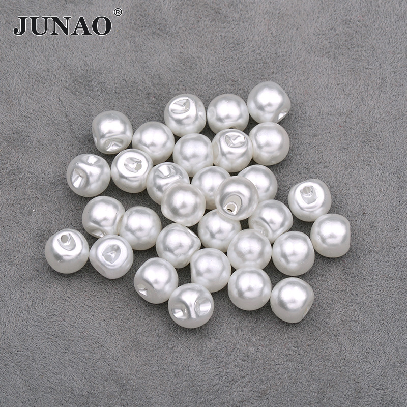JUNAO 8 10 12 mm White Pearl <font><b>Buttons</b></font> Sew Rhinestone <font><b>Button</b></font> Decorative Round <font><b>Button</b></font> Plastic Pearl Appliques for Jeans Clothes image