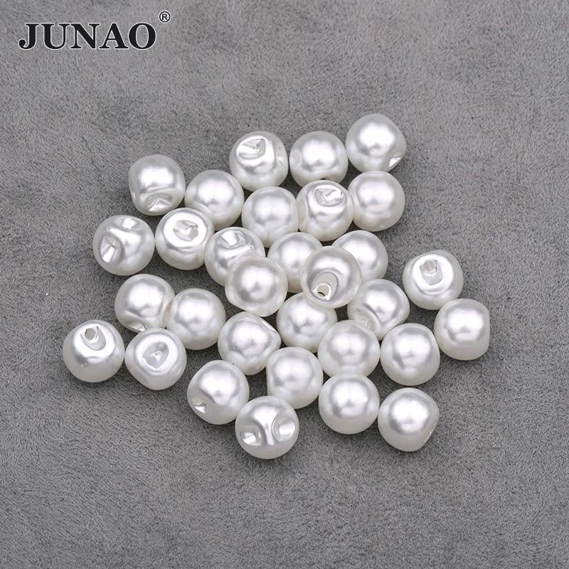 JUNAO 8 10 12 mm botones de perlas blancas coser Rhinestone botón decorativo botón redondo apliques de perlas de plástico para ropa de Jeans