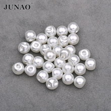 JUNAO 8 10 12mm White Pearl Buttons Sewing Rhinestone Button Decorative Round Plastic Button Pearl Applique for Jeans Clothes