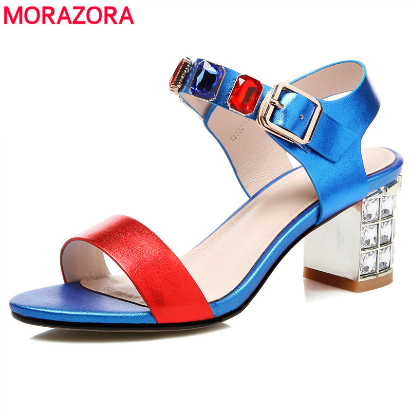 MORAZORA Hot sale women shoes genuine leather buckle strap women sandals rhinestone 6cm thick high heels