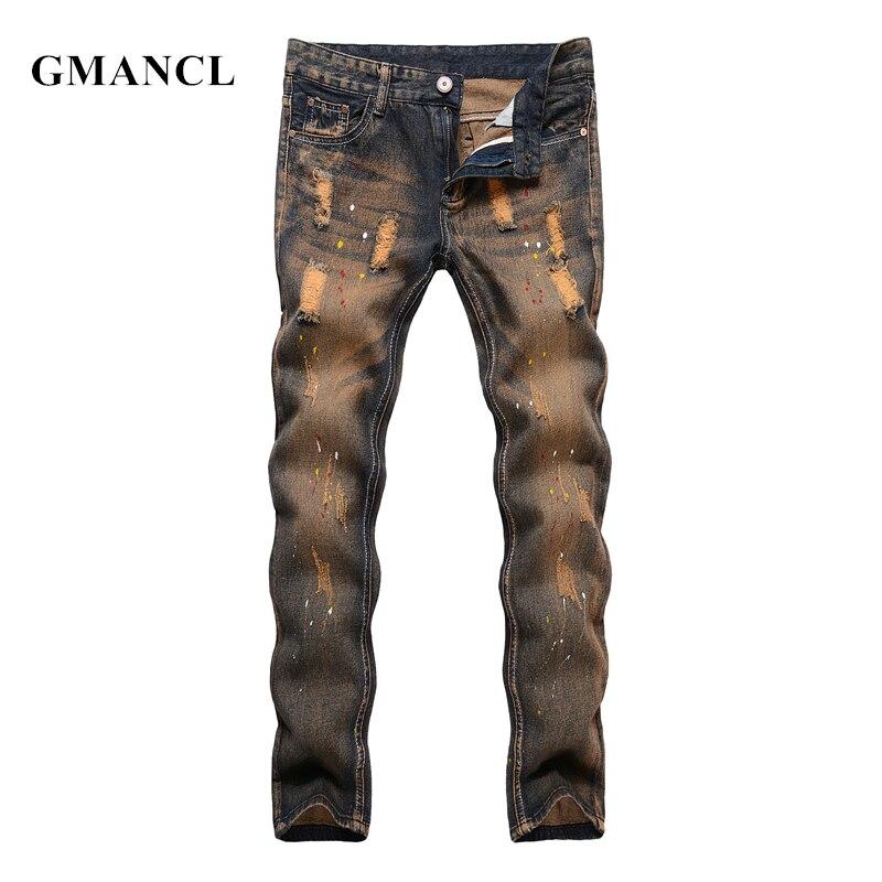 74df084e8b Men Vintage Ripped Destroyed Slim fit Straight Jeans Fashion Streetwear Hip  Hop Pomo printed Cotton Men