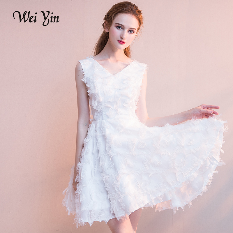 WEIYIN Fashion White Short   Prom     Dresses   A line V Neck Zipper Back Little Party   Dress   Mini   Dress   Short Party Gown Graduation
