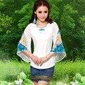 Женщины Блузки 2017 Новый Прибыл Весна Осень Национальный Стиль Мода V Шеи Flare Рукавом Шифон Рубашка Blusas Mujer E251